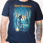 front view man wearing - Campfire Tales PNW - unisex shirt - navy -  Fernweh Gear