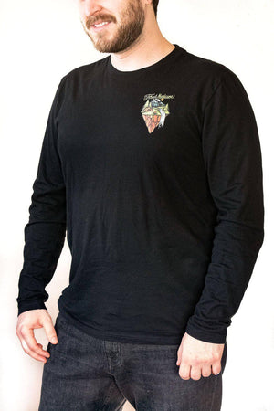Front view Forest Medicine Camping unisex black long sleeve shirt