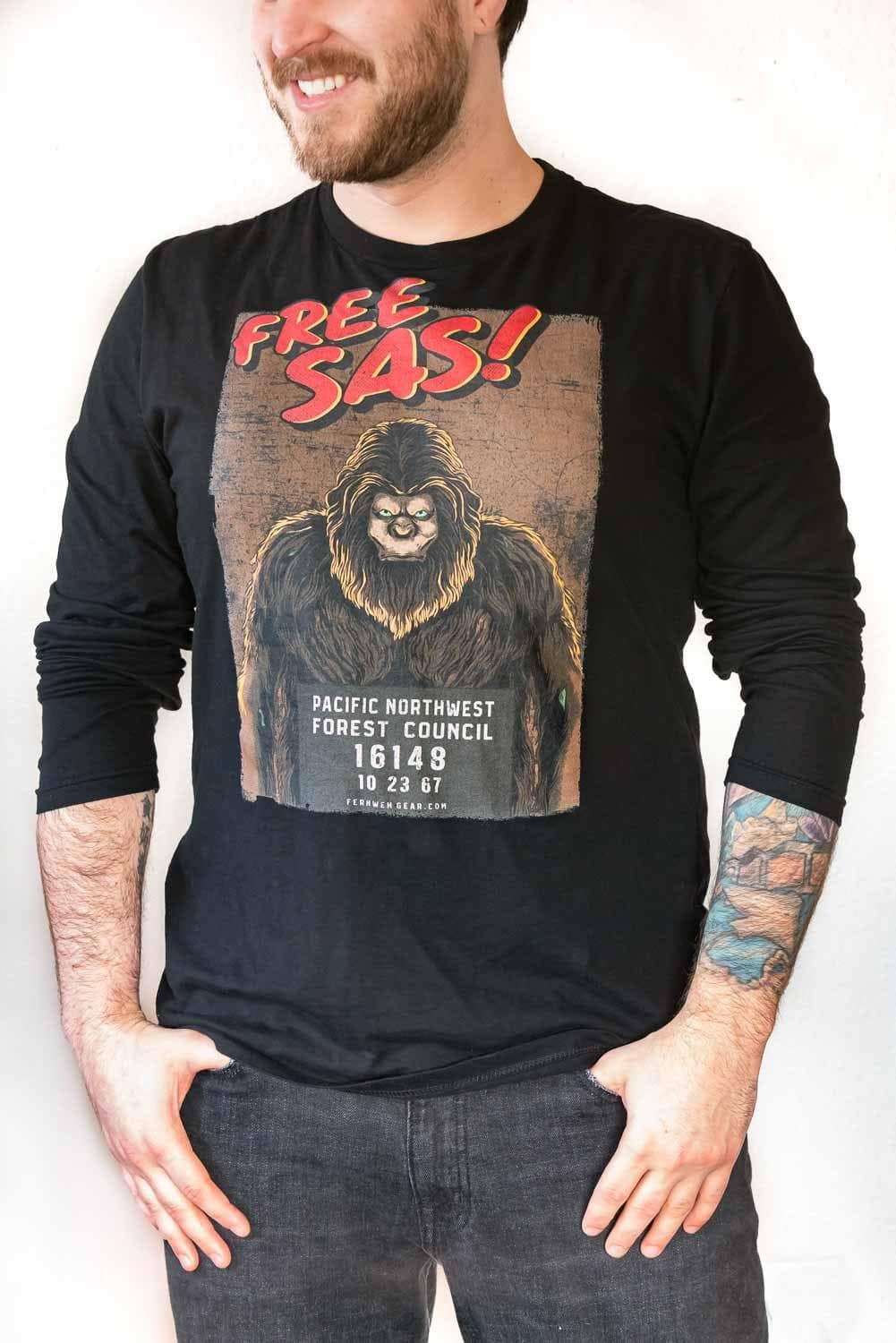 Front view rolled up sleeves Free Sas unisex black long sleeve shirt