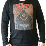 front view Free Sas unisex black long sleeve t shirt