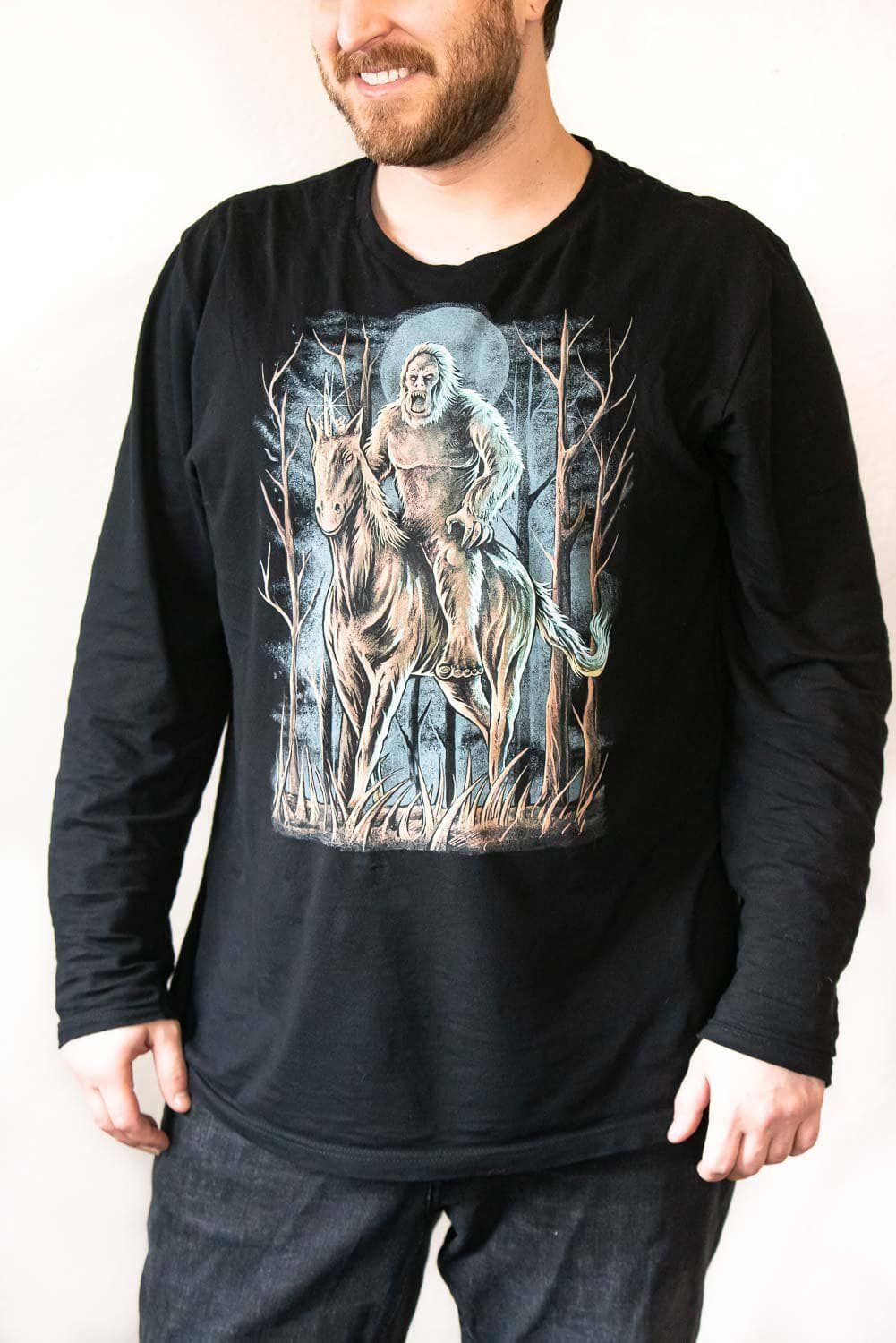 Front view Midnight Encounter unisex black long sleeve shirt