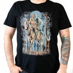 Front view Midnight Encounter unisex black short sleeve shirt