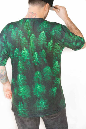 back view man wearing. Woken Pine unisex AOP Shirt - Fernweh Gear