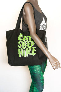 Eat Sleep Hike organic cotton reusable eco tote - shoulder view