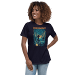 front view woman wearing Campfire Tales PNW women's shirt (navy) - Fernweh Gear