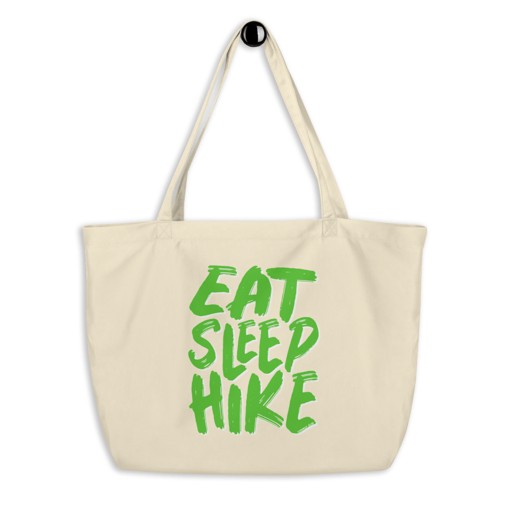 Eat Sleep Hike oyster tan organic cotton reusable tote