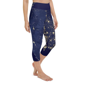 Night Lights - Women's Active Capri Leggings