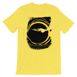 front view Eroded Sun unisex yellow shirt - Fernweh Gear