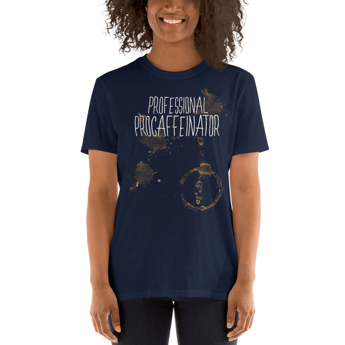 Front View Professional Procaffeinator coffee lover Navy cotton tshirt from fernweh gear