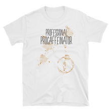 Front View Professional Procaffeinator coffee lover white cotton tshirt from fernweh gear