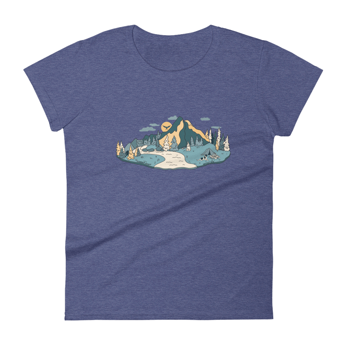 Front View Women's Heather Blue Cascade Camper Tee Fernweh Gear
