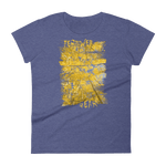 Front View of Brushed Aspen Ladies' tshirt in Heather Blue color with tall rectangular image of yellow aspen trees and blue sky by Fernweh Gear