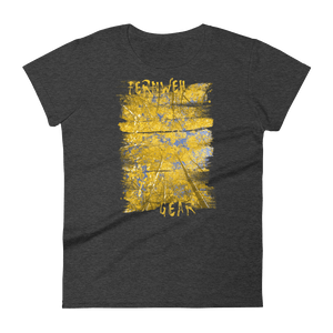 Front View of Brushed Aspen Ladies' tshirt in Heather Dark Grey color with tall rectangular image of yellow aspen trees and blue sky by Fernweh Gear