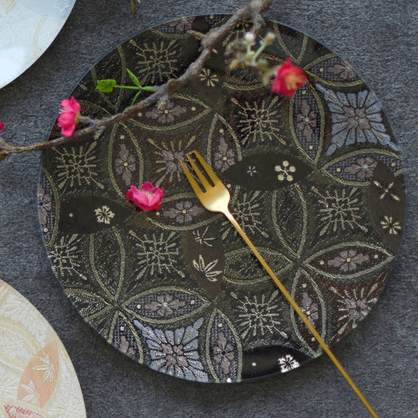 Glass plates with kimono fabric pattern design ENSO