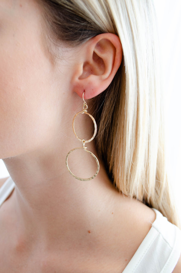 Two Circle Gold Earrings