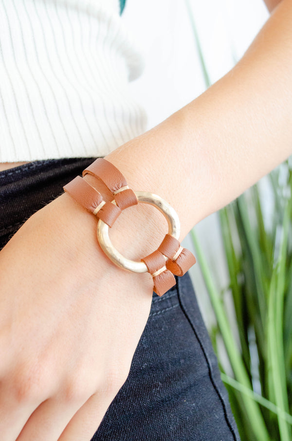 Leather Ring Bracelet