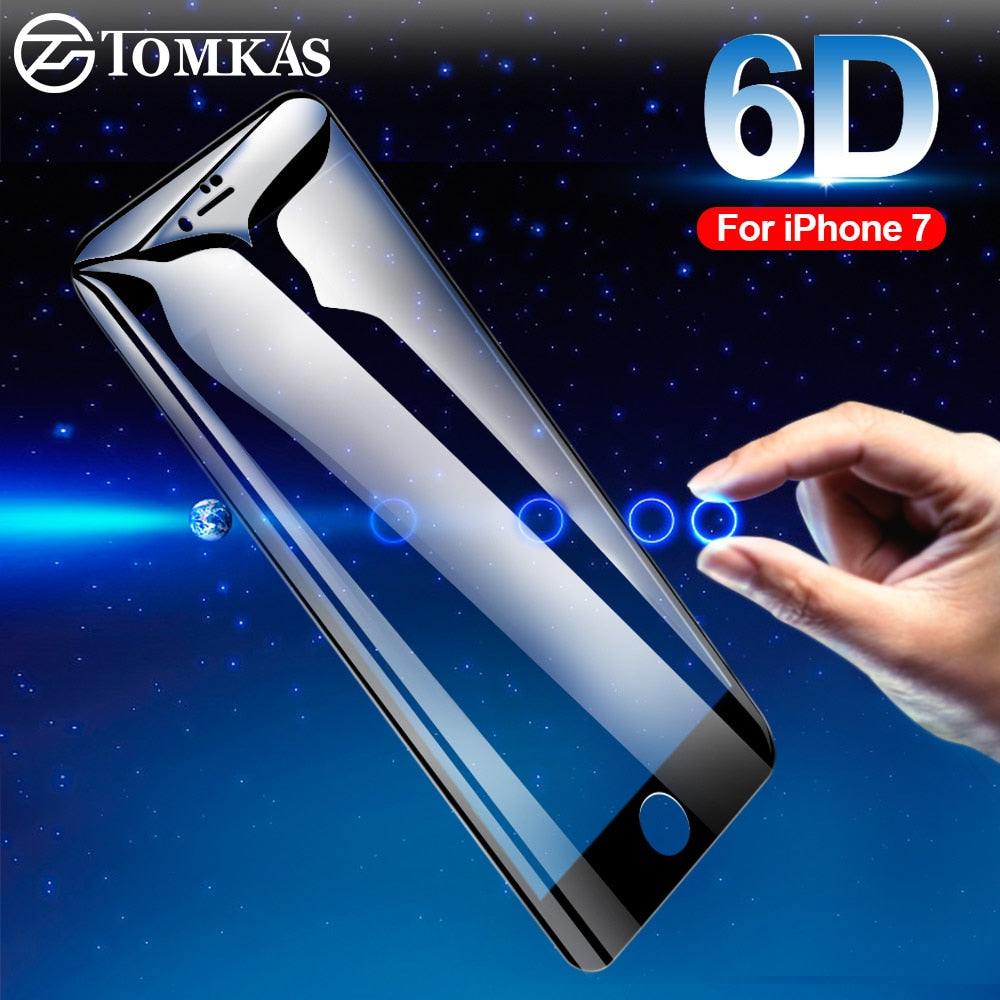 iPhone 7 Screen Protector 6D Curved Edge Protective Glass For iPhone 6 6S 8 7 Plus Screen Protection