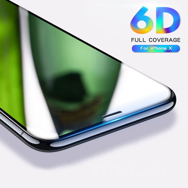 6D Full Cover Tempered Glass For iPhone X 6 6S 7 Plus Full Screen Protector Protective