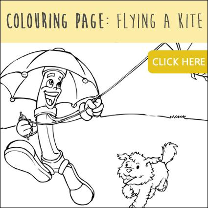 Colouring Page: Flying a Kite
