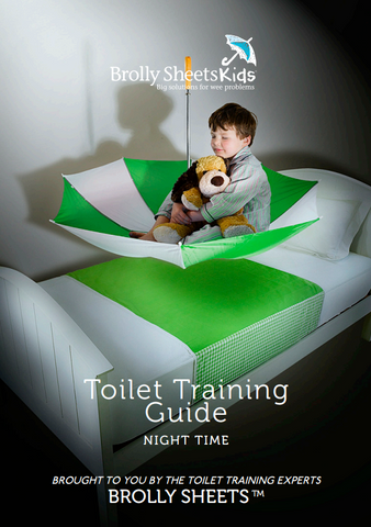 Screenshot of the front cover to Brolly Sheets' night-time toilet training guide.