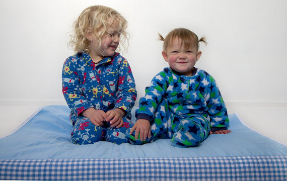 happy kids on blue brolly sheet