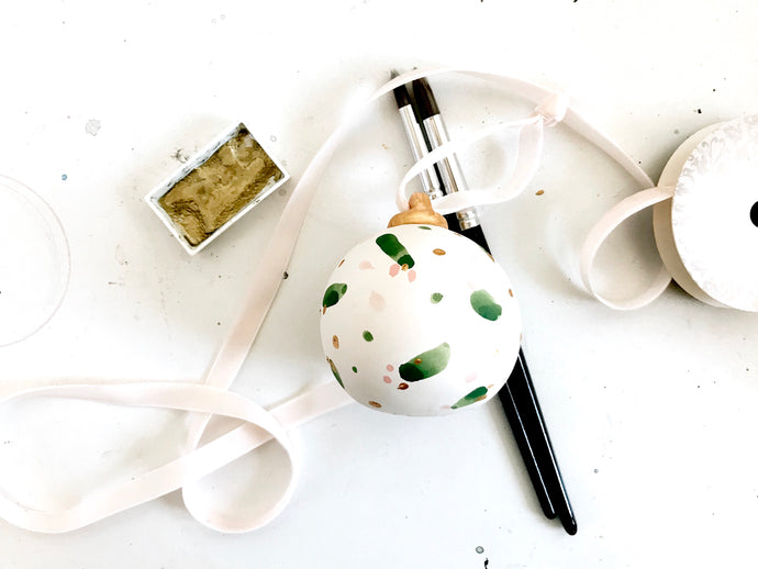 Ceramic ball ornament // green pink and gold