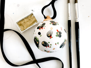 Ceramic ball ornament // green red black and gold