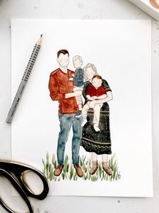 Custom Family portrait watercolor // hand painted from photo