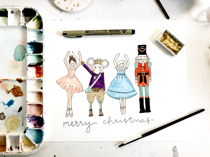 Nutcracker watercolor illustration // 8x10