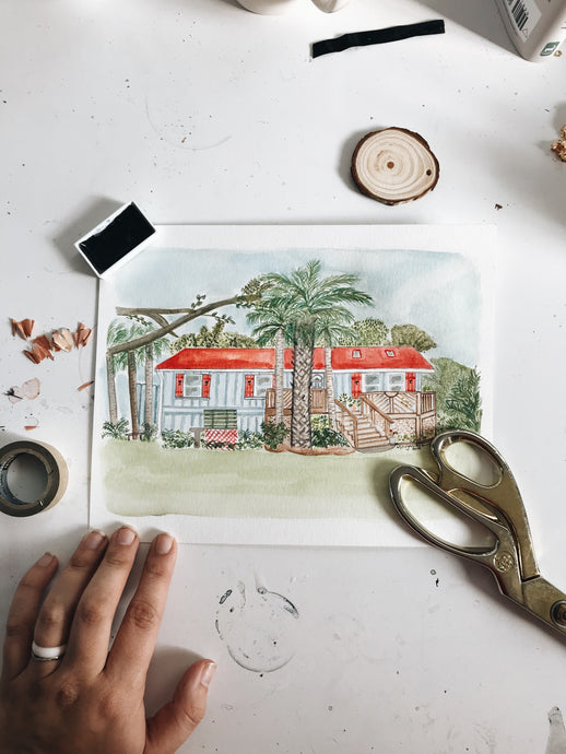 Custom home watercolor // hand painted from photo