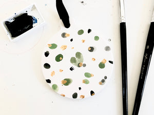 Flat ceramic hand painted ornament // green black and gold