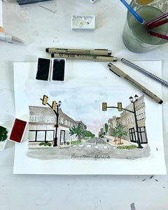 Hand drawn and painted watercolor print of downtown Florence SC also known as the magic city