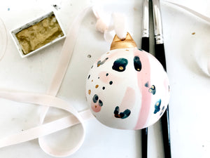 Ceramic ball ornament // pink blue and gold