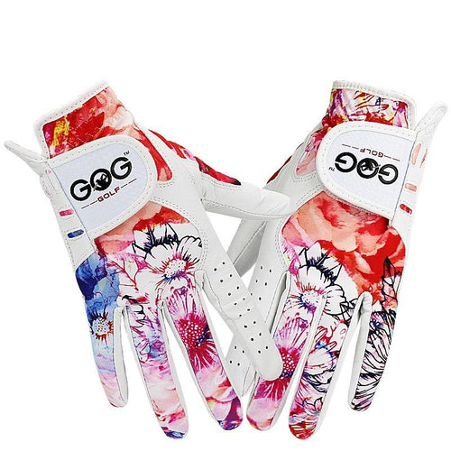 Leather & Colorful Fabric Gloves - kribigolf