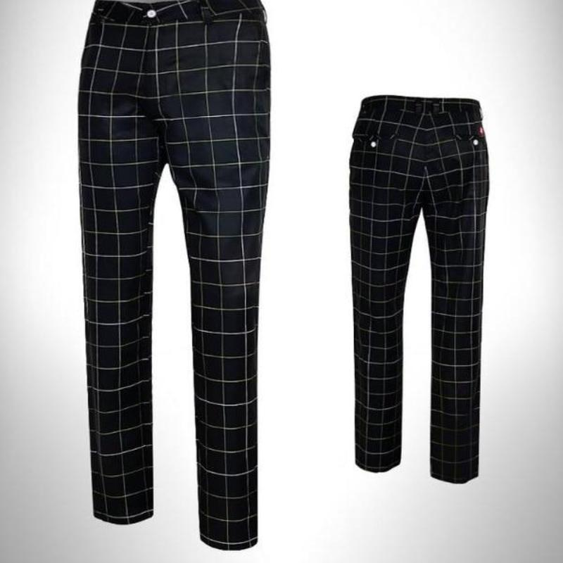 Elastic Authentic Plaid Pants - kribigolf