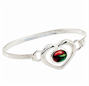 Oval HeatherGems in Heart Bangle - Silver Plate