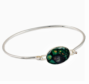 Oval HeatherGems  Wire Bangle - Silver Plate