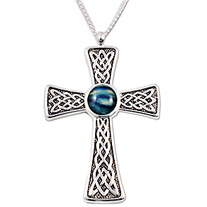 Silver Plated Celtic Knot Cross with Round HeatherGems