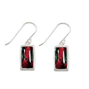 Rectangle Shape HeatherGems Drop Earrings - Sterling Silver
