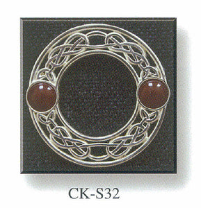 Stone Set Plaid Brooch with Celtic Knot Design