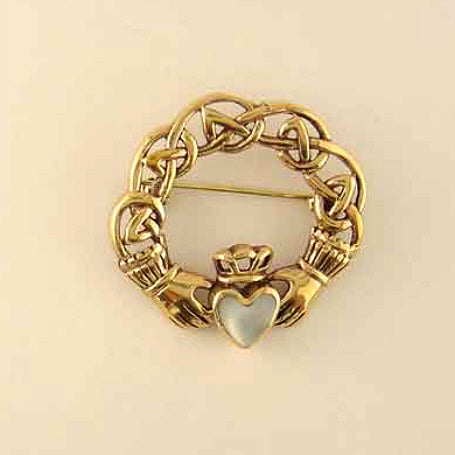 Claddagh with Stone Brooch