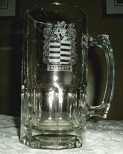SUPER BEER MUG - with Engraved Family Coat of Arms