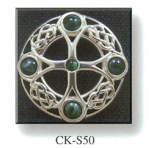 Cross Brooch with Celtic Knot and Stone Set