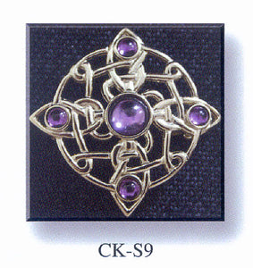 Cross Brooch - Stone Set with Celtic Knot