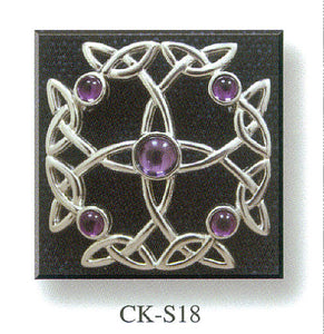 Cross Brooch - Stone Set and Celtic Knot