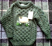 Childrens Hand Loomed Crewneck - Green Heather 22-xs