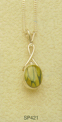 Oval Sterling Silver Drop Pendant