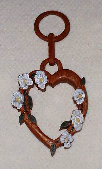 Carved Single Heart with Flowers