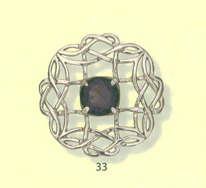 Celtic Interlace Brooch with Stone