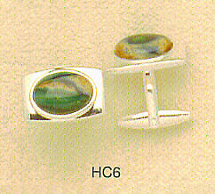 Oval HeatherGems Cuff Links - with Polished Frame